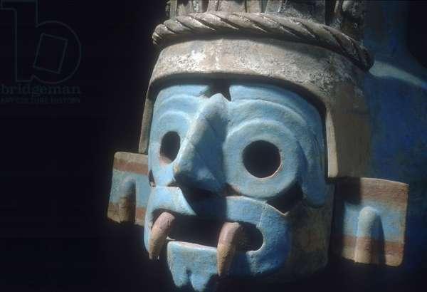 Jar depicting Tlaloc, rain god (stone)