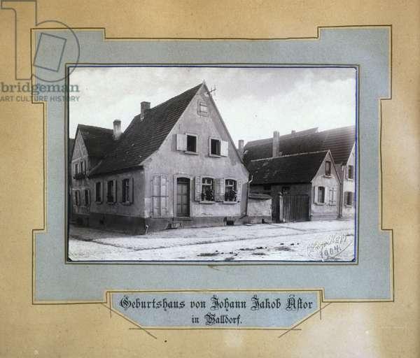 The House in which Johann Jakob Astor was born, Walldorf, Baden-Wuerttemberg, Germany, 1904 (b/w photo)