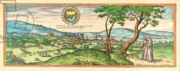Oxford, view of the city, 1580 (colour etching)