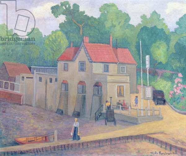 The Butt and Oyster, Pin Mill, before 1935 (oil on canvas)