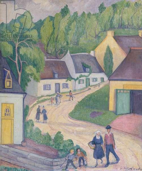 Street in St. Nicolas-du-Pelem, Brittany, c.1933 (oil on canvas)