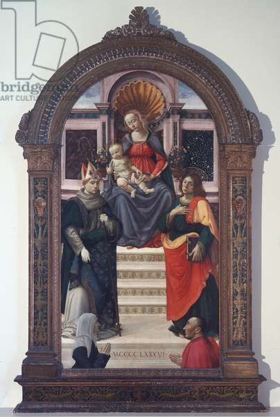 The Madonna and Child with St Louis of Toulouse, John the Evangelist, and Donors, 1486 (tempera & oil on panel)