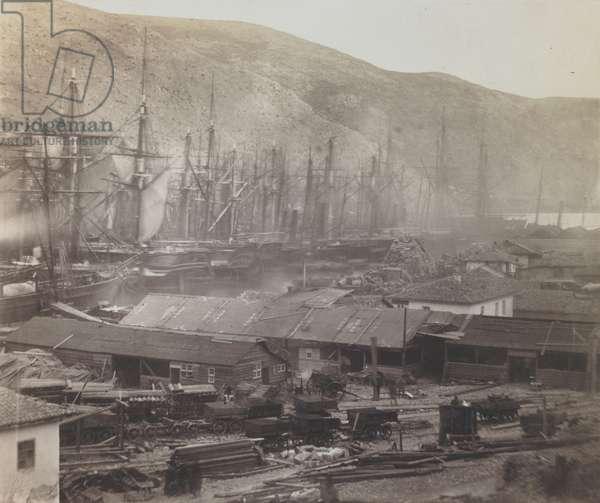 Railway sheds and workshops, Balaklava, 1855 (salt print).