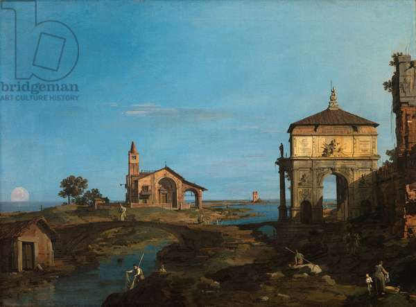 An Island in the Lagoon with a Gateway and a Church, 1743-44 (oil on canvas)
