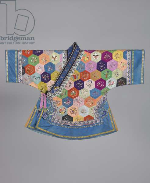 Han Chinese Boy's Robe ('One Hundred Households Robe'), Guangxu period, late 19th century (embroidered silk with silk & metallic threads)