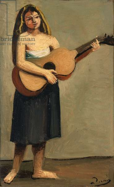 Guitarist, 1928 (oil on paper)