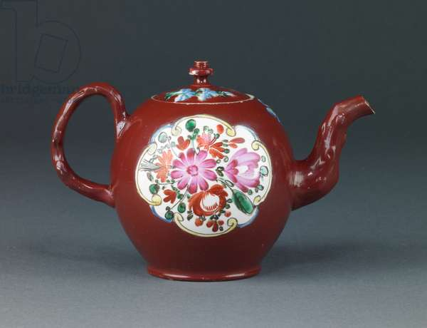 Teapot, 1755–60 (salt-glazed stoneware with enamel decoration)
