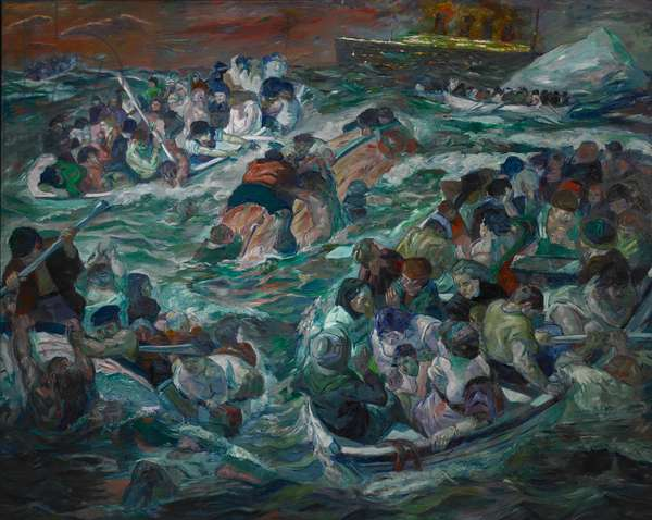 The Sinking of the Titanic, 1912-13 (oil on canvas)