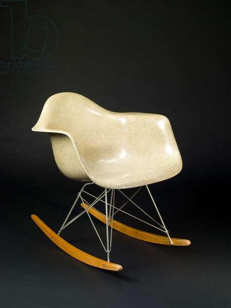 Molded Plastic Rocker, 1950 (moulded polyester fibreglass, steel, birch & rubber mounts)