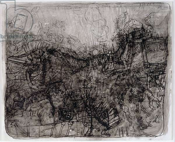 Untitled, c.1965 (litho crayon & wash on paper)