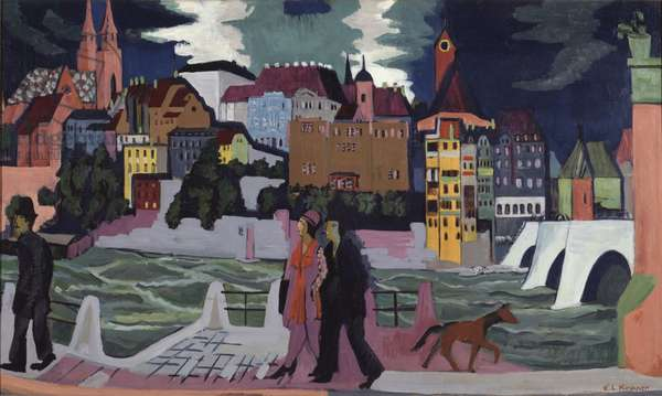 View of Basel and the Rhine, 1927-28 (oil on canvas)