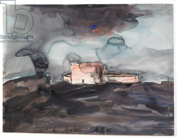 The Painter's Studio, 1983 (w/c, gouache & graphite on paper)