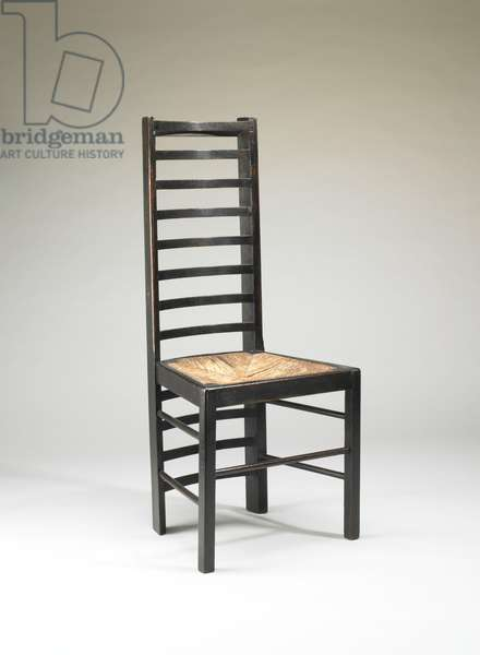 Dining Chair for the Willow Tea Rooms, Glasgow, Scotland, 1903 (ebonized oak & rush)