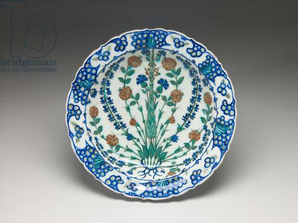 Plate, interior view, second half 16th century (glazed fritware with underglaze slip and painted decoration)