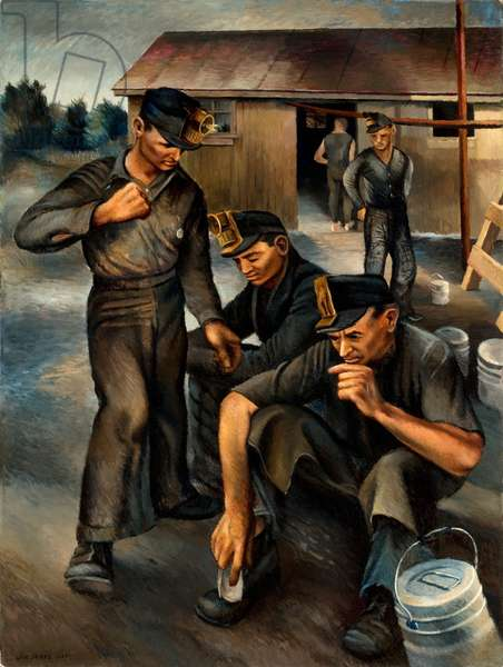 Miners, 1935 (oil on paperboard)