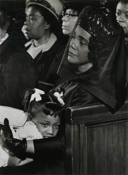 Coretta Scott King and daughter Bernice at the funeral of Dr. Martin Luther King Jr., 1968, printed c.1970 (gelatin silver print)