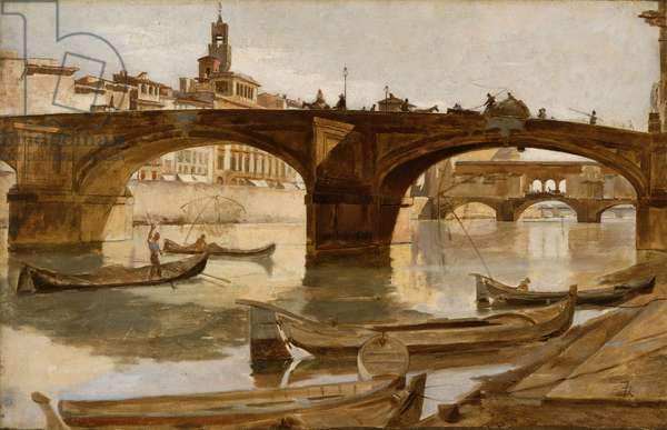 The Bridges: Florence, c.1880 (oil on canvas mounted on laminated paperboard)