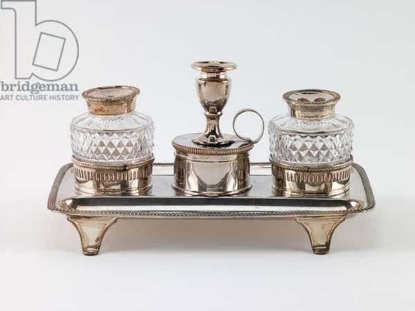 Inkstand, c.1800 (silverplate & glass)