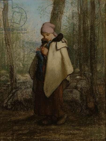 The Knitting Shepherdess, 1856-57 (pastel on paper)