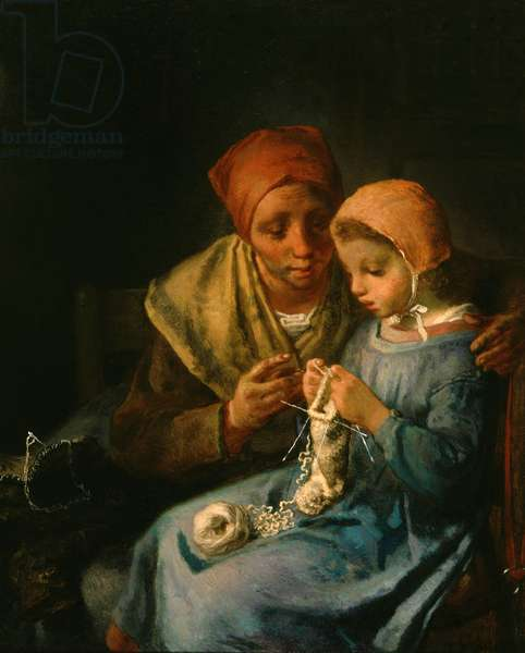 The Knitting Lesson, 1869 (oil on canvas)