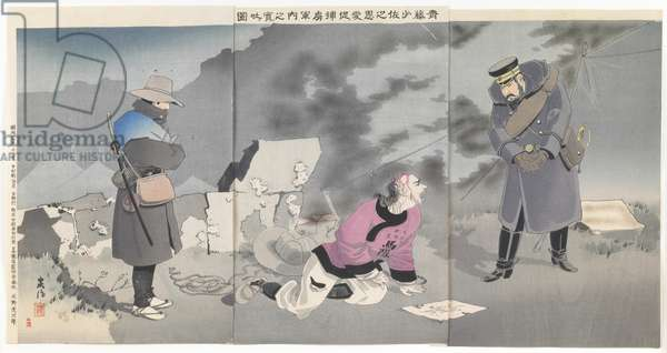 Prisoner Revealing Military Plans after Being Moved by Major Saitô's Kindness, 1894 (colour woodblock print)