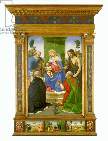 Madonna and Child Enthroned with Saints Peter, John the Baptist, Dominic and Nicholas of Bari, c.1481–85 (tempera & oil on panel)