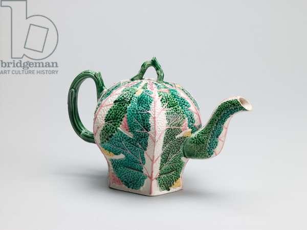 Teapot, c.1760 (salt-glazed stoneware with enamel decoration)