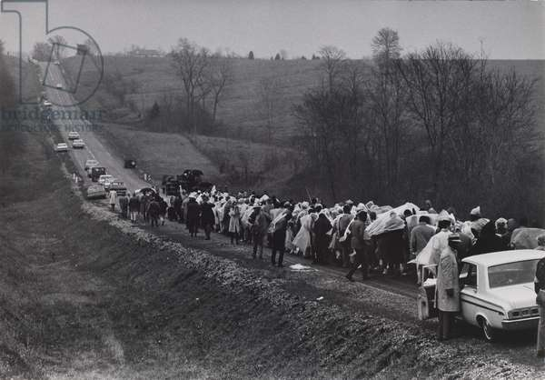 Selma Marchers on Road to Montgomery, 1965, printed c.1970 (gelatin silver print)