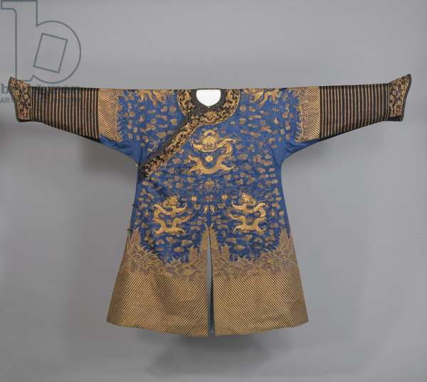 Manchu Man's Semiformal Court Robe, Guangxu period, late 19th century (embroidered silk with silk & metallic threads)