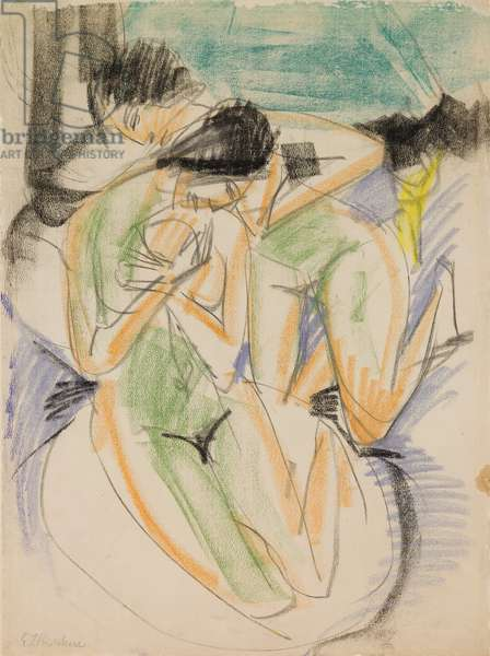 Two Nudes, 1914 (graphite, black and colored chalk, and oil stick)