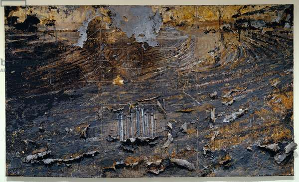 Burning Rods, 1984–87 (oil, acrylic, emulsion & shellac on canvas with ceramic, iron, copper wire & lead)