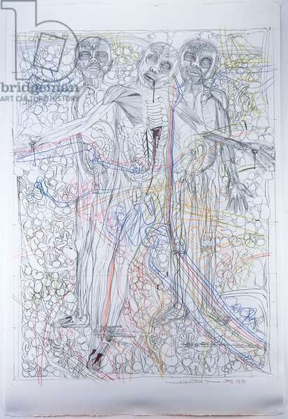 Untitled, from the series 'The Architecture of the Orgies Mysteries Theatre', 1987 (litho with coloured crayons on paper)