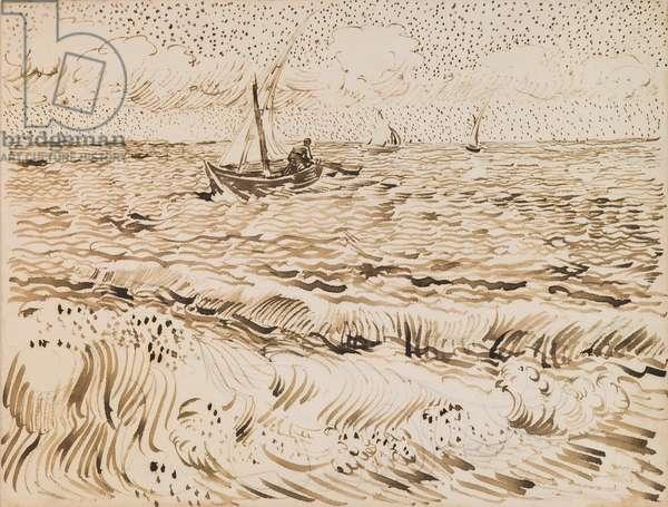 Fishing Boats at Saintes-Maries-de-la-Mer, 1888 (pen & ink and pencil on paper)