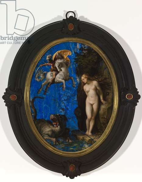 Perseus Rescuing Andromeda, c.1593-94 (oil & lapis lazuli on wood)