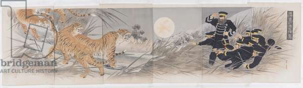 The Qing Army's Foolish Plan to Use Tigers as Weapons, 1895 (colour woodblock print)