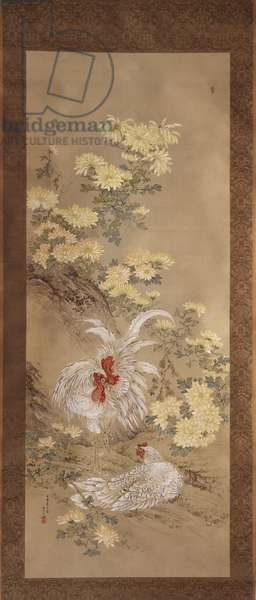 Chickens and Chrysanthemums, 1892 (ink & color on silk)