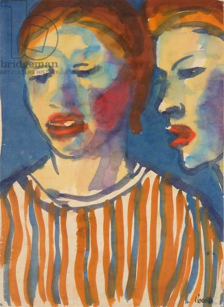 Two Girls, 1910-1934 (watercolor)