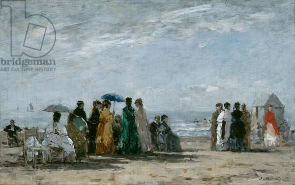 The Beach at Trouville, 1869 (oil on panel)