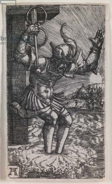 Horatius Cocles Leaping into the Tiber, 1520-26 (engraving)