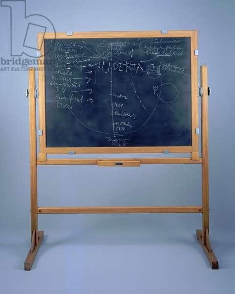Urbis II, 1972 (chalk on blackboard with wood stand)