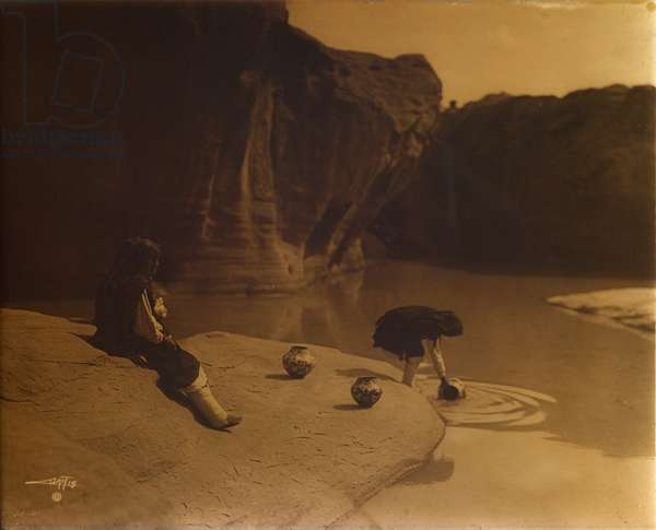 At the Old Well of Acoma, c.1904 (orotone)