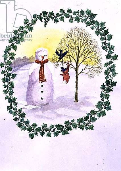 Christmas Snowman (w/c on paper)