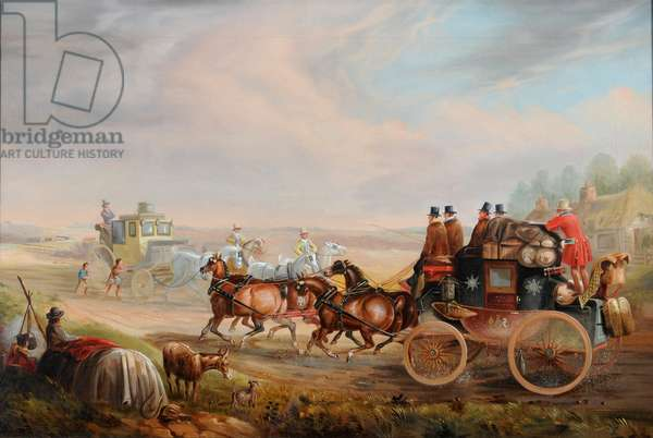 Hull-London Royal Mail Meeting a Travelling Chariot on the Road, c.1835 (oil on canvas)