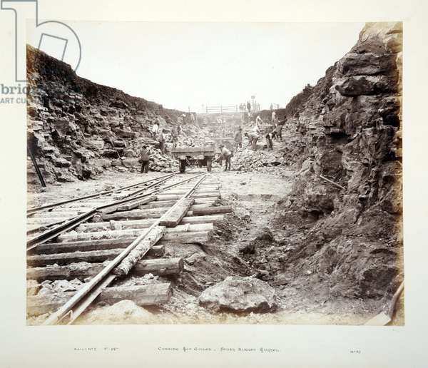 Cutting Top Gullet, South Kirkby Tunnel, 1882 (sepia photo)