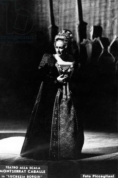 Montserrat Caballé - portrait of Spanish soprano opera singer performing in Gaetano Donizetti 's 'Lucrezia Borgia'