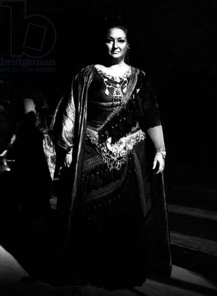 Montserrat Caballé - portrait of Spanish soprano opera singer performing in Giuseppe Verdi 's 'Aida'
