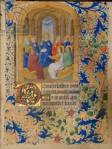 Ms 38 fol.109 Pentecost, from the Hours of Jeanne de Bourbon, c.1475 (gouache, bodycolour and gilding on vellum)