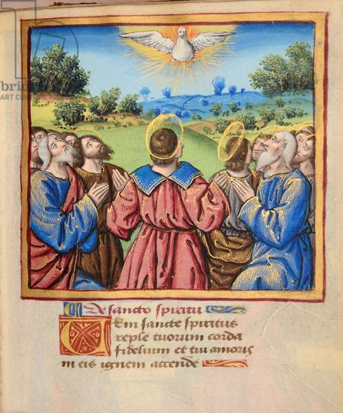 Ms 45 fol.37r Pentecost, from Preces Variae, c.1500 (gouache & bodycolour on vellum)