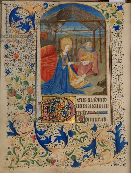 Ms 38 fol.67v Adoration of the Christ Child, from the Hours of Jeanne de Bourbon, c.1475 (gouache, bodycolour and gilding on vellum)
