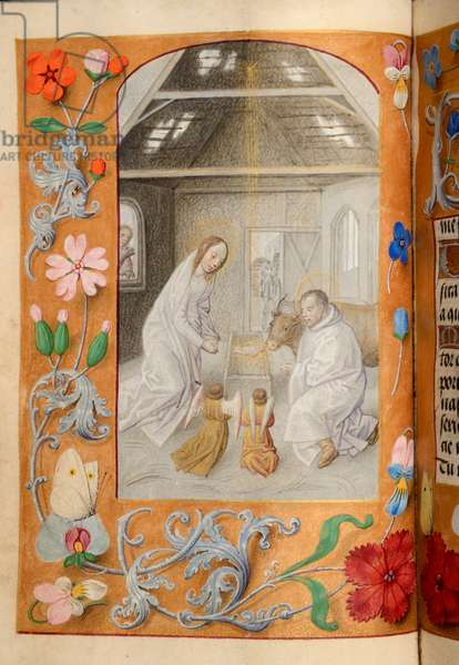 Ms 60 fol.13v Nativity, from the Hours of Katherine Bray, c.1480-90 (gouache & bodycolour on vellum)